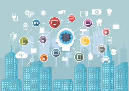 Abstract concept of smart city infrastructure system. Internet of thing. IoT. Intelligence system for smart city technology.