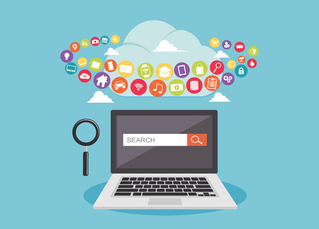 Search engine optimization. SEO. Searching internet content on the cloud storage Çizim