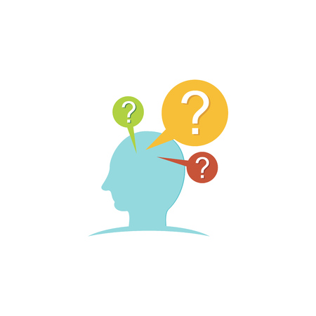 Concept of person thinking about a question. Brainstorming icon