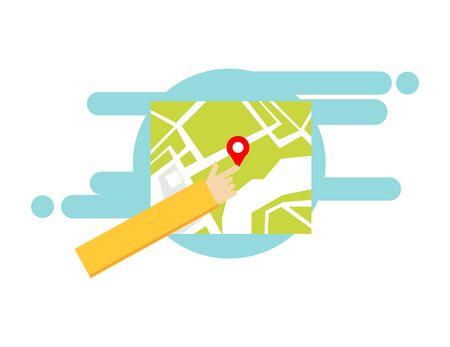 Concept of digital map navigator. GPS location direction position Çizim