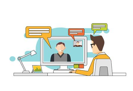 Teleconference concept. Video communication technology illustration. Video call. Businessman having teleconference. Line art