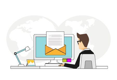 Email icon. Email marketing. Newsletter symbol. Line art vector illustration.