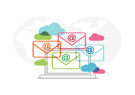 Abstract concept of email communication. Email icon or symbol. Email marketing. Çizim