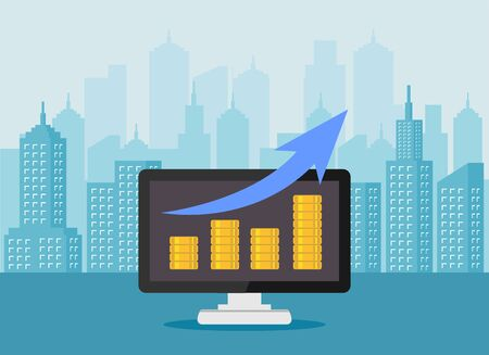 Revenue growth increasing graph. Increasing piles of coins with going up graph on computer screen. Business growth analysis concept