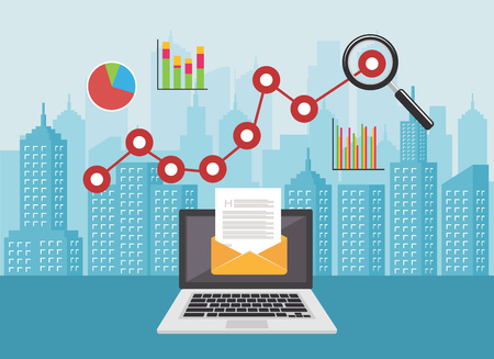 E-mail marketing.Revenue crescimento análise conceito ilustração vetorial Ilustración de vector