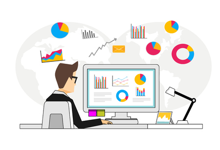 Concept of business analyst. Person analyzing financial data. Business intelligence dashboard on computer.