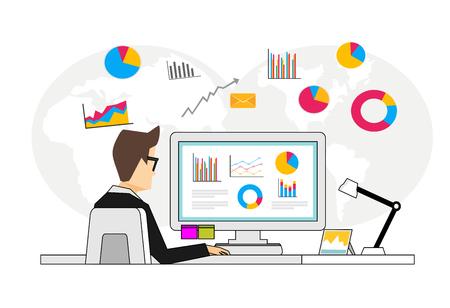 Concept van bedrijfsanalist. Persoon die financiële gegevens analyseert. Business intelligence dashboard op de computer.