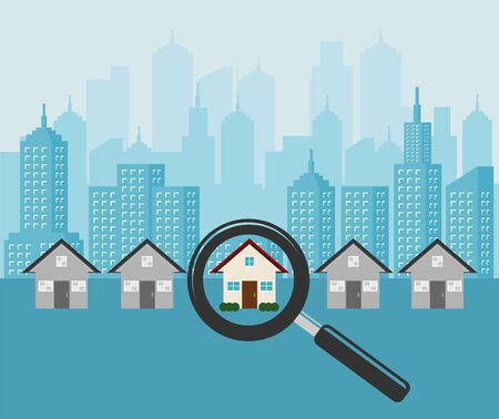 Search for home. Magnifying glass with house. Real estate concept.