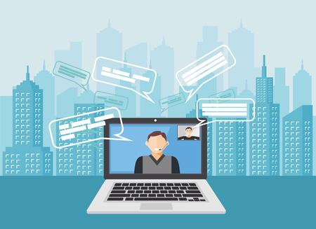 Video call for long  Distance communication. Teleconference concept idaes Illusztráció