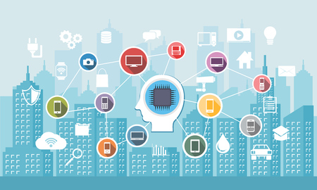 A city with smart services. Internet of Things. Networks smart device connection concept