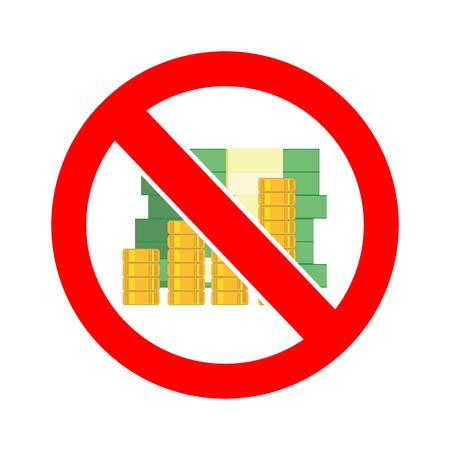 Stock vector of no money. Prohibition of money. No money allowed sign symbol