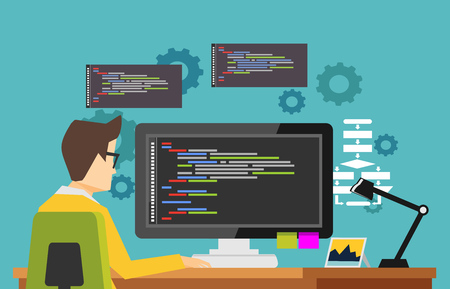 Programmer working on computer. Focus on programming code. Concept of coding or developing