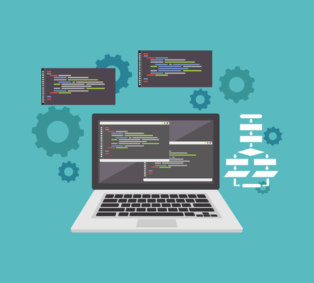 Coding or programming concept. Code editor icon or symbol. Technology background Çizim