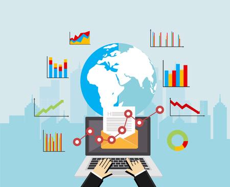 Email reclame. Wereldwijde marktanalyse. Zakelijke analyse concept illustratie. Business achtergrond