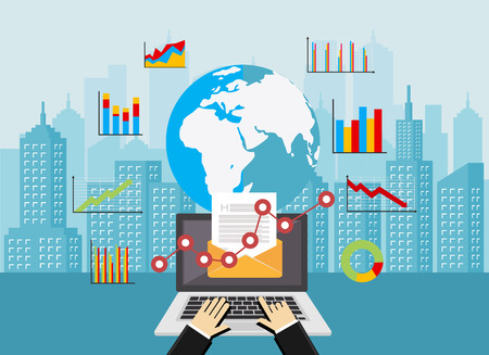 Email marketing. Global market analysis. Business analysis concept illustration. Business background