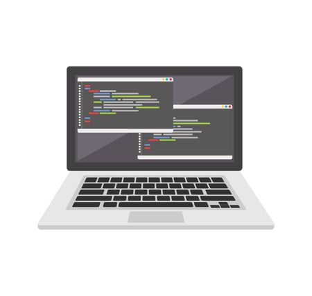 Code editor on laptop icon or symbol. Coding or programming concept. Illustration