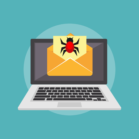 Virus on email. Email scam. Insecure digital communication concept. Cyber attack concept. Technology background. Illustration