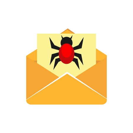 Virus on email. Insecure digital communication. Cyber attack concept. Technology concept. Çizim