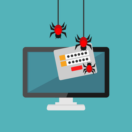 Data theft. Malware. Virus stealing information. Cyber attacker trying to hack computer.
