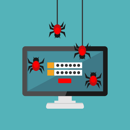 Data theft. Malware. Virus stealing information. Cyber attacker trying to hack computer. Technology background Çizim