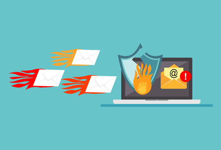 Email spamming attack. Ddos attack. Cyber attack concept. Technology background