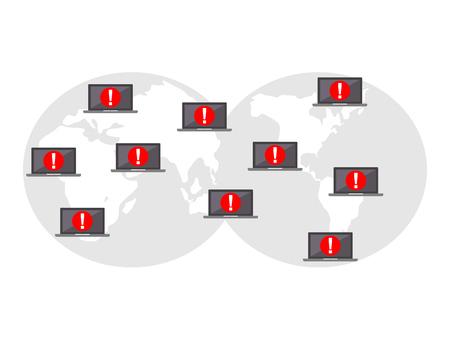 Global cyber attack. Global computer virus infection. Internet security. Technology concept. Illusztráció