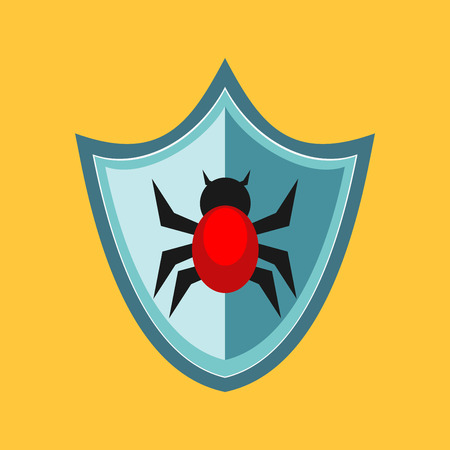 Shield protection with bug. Cyber attack protection concept. Antivirus.