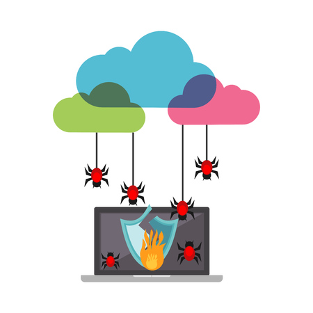 Cloud computing system broke down. Cloud cyber attack concept. Infection malware.