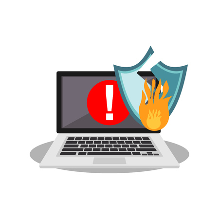 Warning on laptop screen. Security shield broken by cyber attack. Cyber attack concept. Technology background