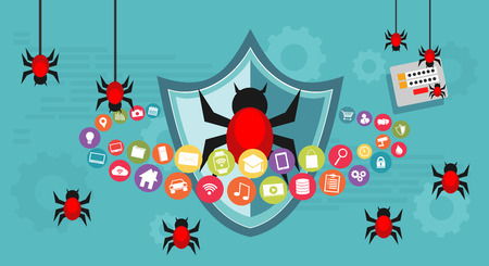 Abstract concept of cyber attack. Bug attack or steal data. Technology concept Çizim