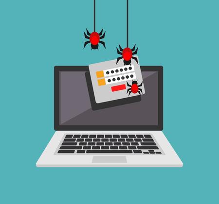 Kradzież danych. Złośliwe oprogramowanie. Wirus kradnie informacje. Cyberprzestępca próbuje włamać się do komputera.