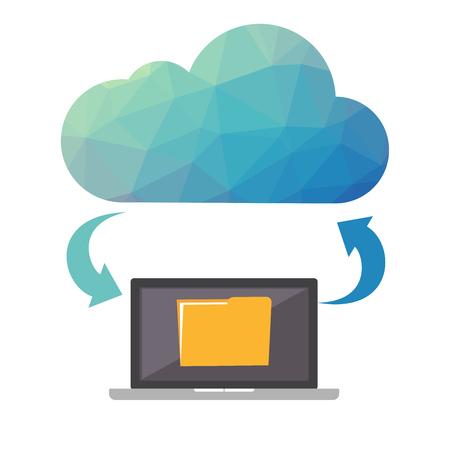 Cloud-Speicher Cloud-Backup-Konzept. Low Poly Design Abbildung. Technologischer Hintergrund.