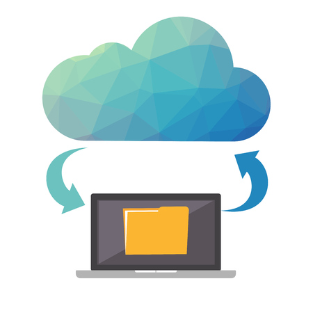 Cloud storage. Cloud backup concept. Low poly design illustration. Technology background.
