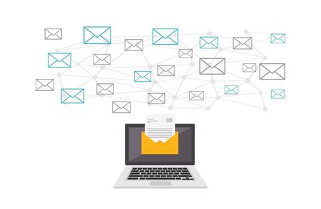 Email communication. Digital message communication concept illustration. Çizim