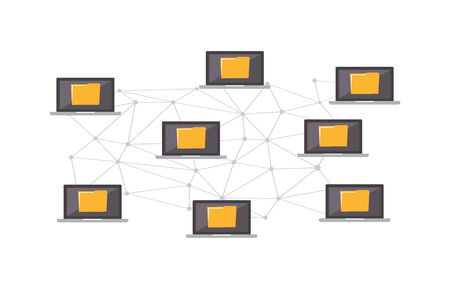 File sharing. Cloud Computing Design Concept. Digital Network Connections, Technology Background