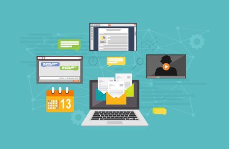 Social media technology. Internet marketing. Internet services concept illustration. Technology background