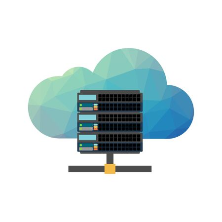 Web hosting server icon with internet cloud. Technology background Çizim