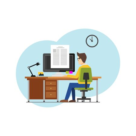 Illustrations concept of student studying from home to avoid viruses. Learning at home to prevent virus infection Illusztráció
