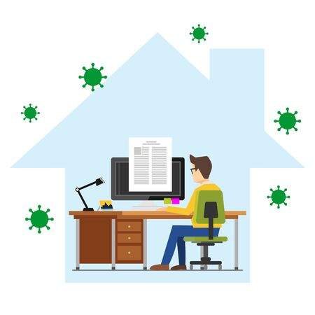 Illustrations concept of student studying or working from home to avoid viruses. Learning at home to prevent virus infection Illusztráció