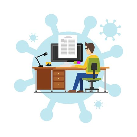 Illustrations concept of employees working from home to avoid viruses. Work at home to prevent virus infection