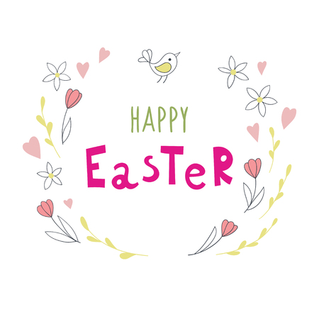 Easter background with handwriting inscription Happy Easter. Vector illustration.