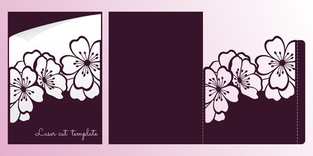 Cherry or sakura branch blossoms. Laser cutting template for envelope. Illustration