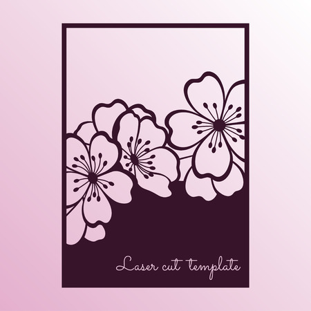 Cherry or sakura branch blossoms. Laser cutting template suitable for greeting cards, invitations, covers, menus, interior decorations.