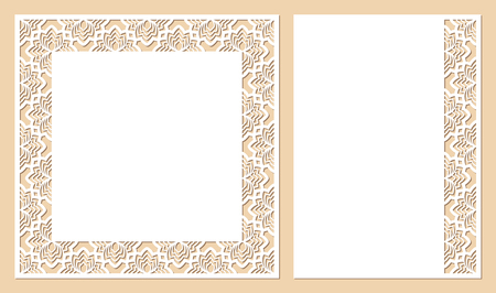 Set of cards with openwork floral border and space for text. Laser cutting templates suitable for greeting cards, envelopes, invitations, interior decorative elements.