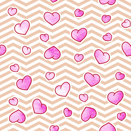 Seamless pattern with cute watercolor hearts and zig zag. Valentines Day background. Vector template suitable for wrapping paper, bedding, print on clothes. Illustration