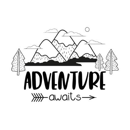 Alberi di paesaggio montano minimalista e iscrizione scritta a mano Avventura attende. Illustrazione vettoriale in bianco e nero.