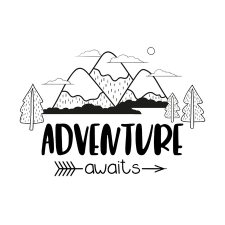 Minimalistische Berglandschaftsbäume und handschriftliche Inschrift Adventure erwartet Sie. Schwarzweiss-Vektorillustration.