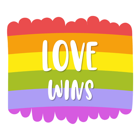 Gay Pride lettering on bright rainbow flag, inscription Love wins. LGBT rights concept. Vector template suitable for greeting cards, posters or prints on a T-shirt.