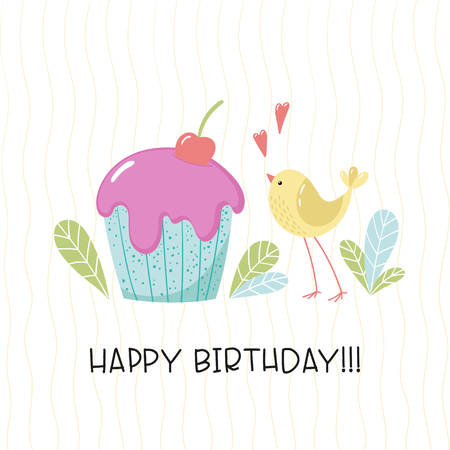 Cute cartoon bird and cupcake with cream and cherry. Vector illustration.