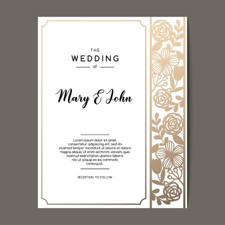 elegant wedding invitation background with floral ornament vector